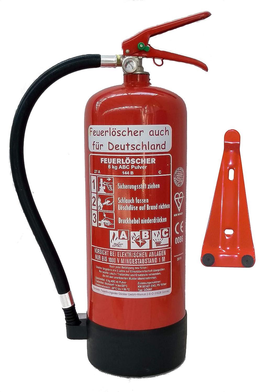 6 kg ABC Pulver Feuerlö scher Orginalverpackt Brandklasse ABC, EN3, Messingarmatur + Sicherheitsventil + Manometer/Wandhalter/Standfuß , Pulverlö scher Feuerlöscher auch für Deutschland