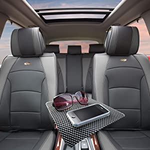 TLH Ultra Comfort Leatherette Seat Cushions Full Set, Gray Black Color w/Non Slip Dash Mat