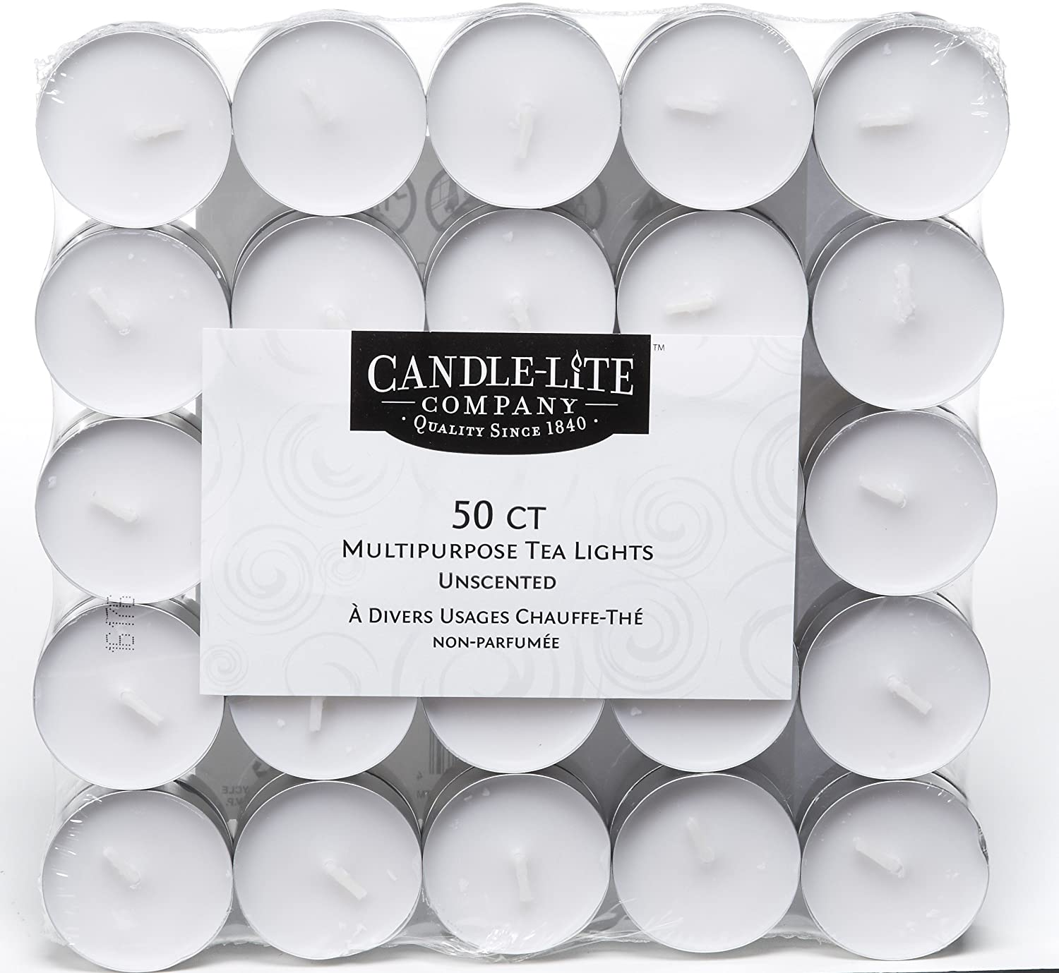 Bag of 50 White Candle-Lite 1261595 Unscented Tea Light