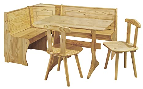 h24living eckbankgruppe eckbank essgruppe essecke bank sitzecken tisch 2 stuhle landhaus stil kuche massivholz truhenfacher