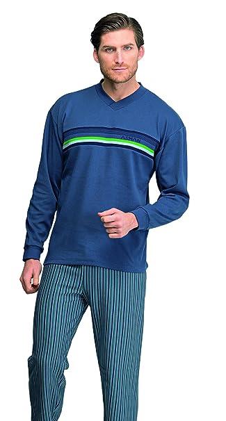Pijama caballero azul de invierno Assman con banda de punto y pantalón a rallas (7920