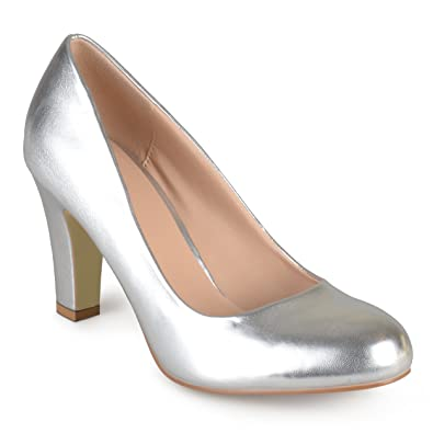 d241fa833a53 Journee Collection Womens Matte Finish Chunky Heel Pumps Silver