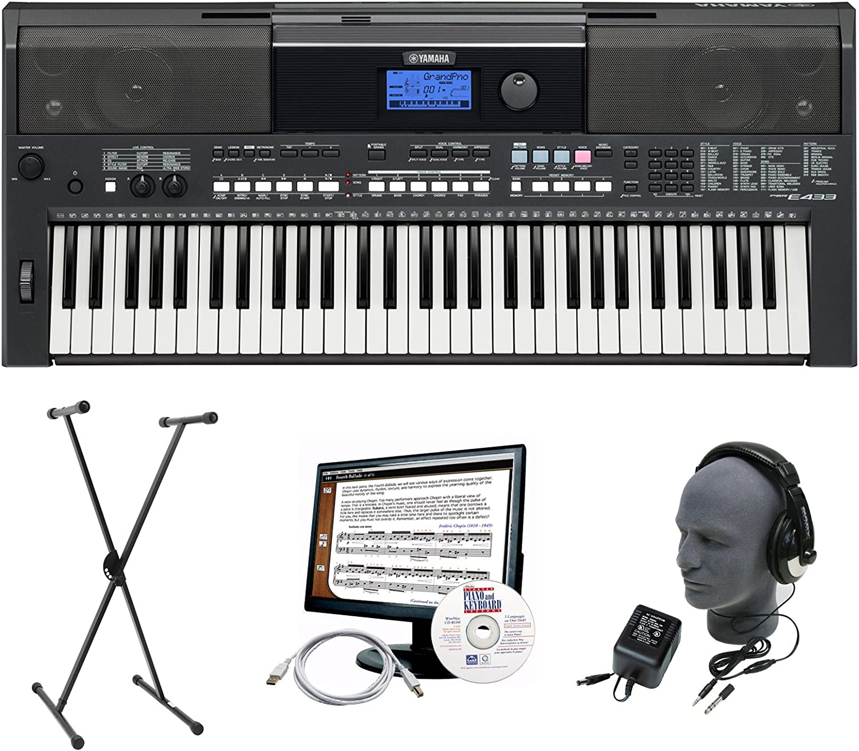 Yamaha PSR-E433 Paquete de teclado premium con auriculares ...