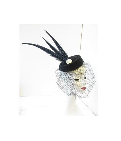 En color negro velo pastillero con de la perla de diseño de jaula ...