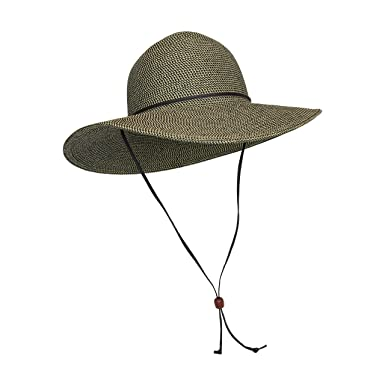 f05d31a73c015 Brown Packable Cotton Fabric Sun Hat, Wide Circle Brim w/ Chin Strap, UPF