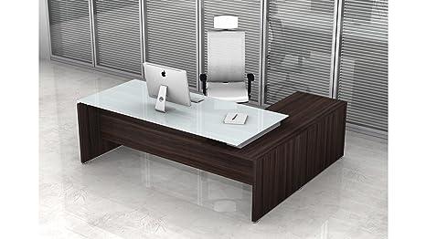 Scrivania Ufficio Vetro : Scrivania direzionale con allungo per ufficio h cm