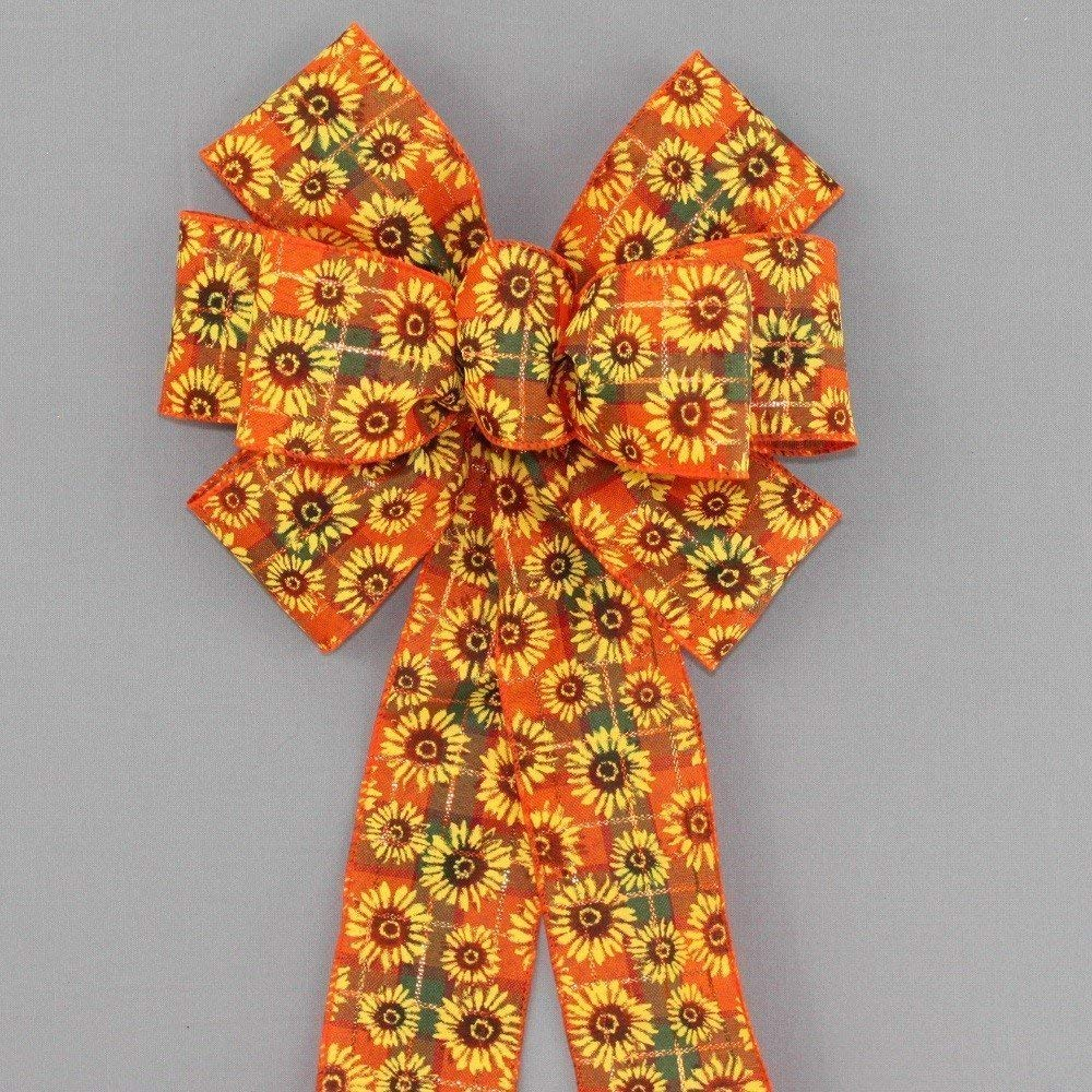Sunflower Plaid Fall Wreath Bow - available in 2 sizes