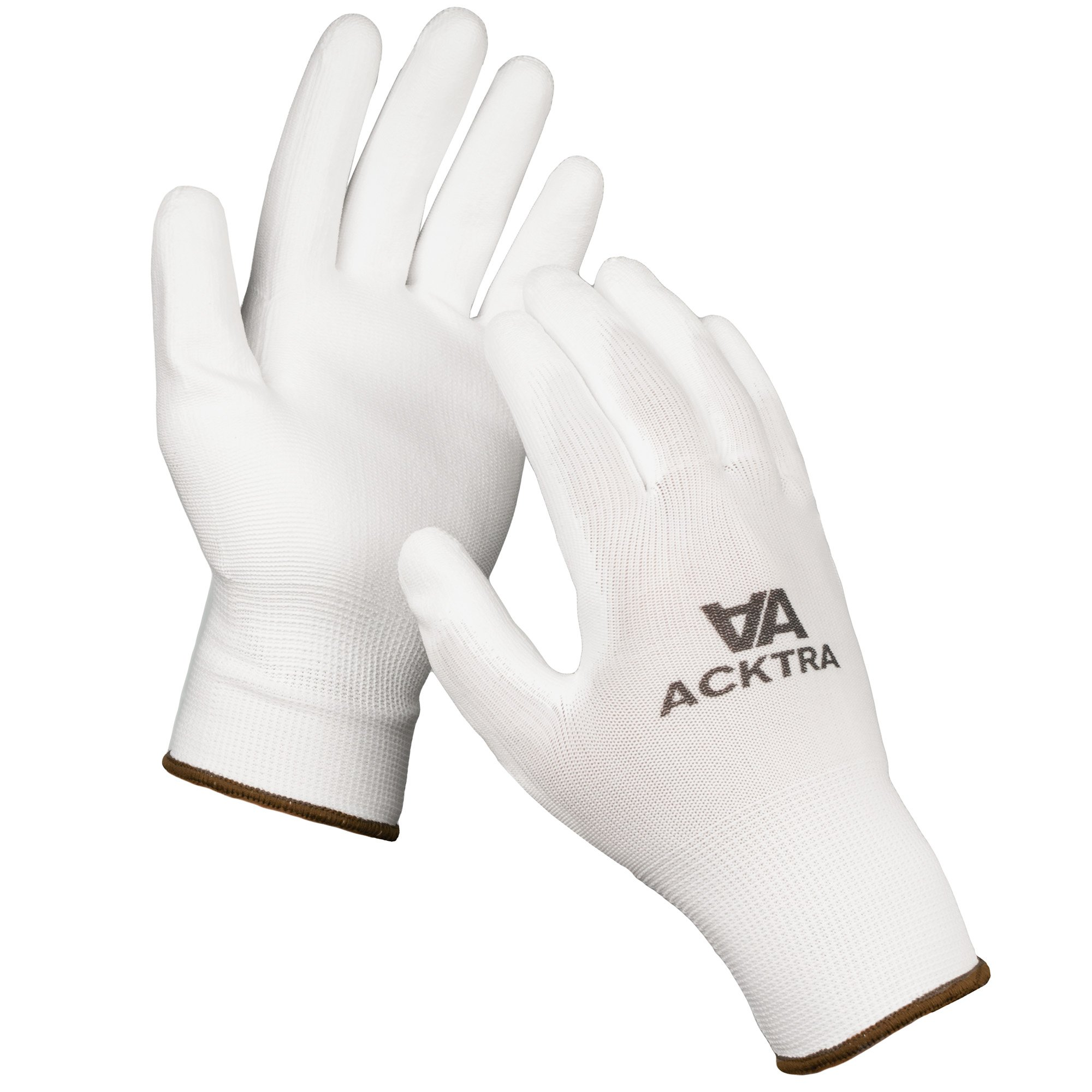ACKTRA Ultra-Thin Polyurethane (PU) Coated Nylon Safety WORK GLOVES 12 Pairs, Knit Wrist Cuff, for Precision Work, for Men & Women, WG002 Black Polyester, Black Polyurethane, Small 3
