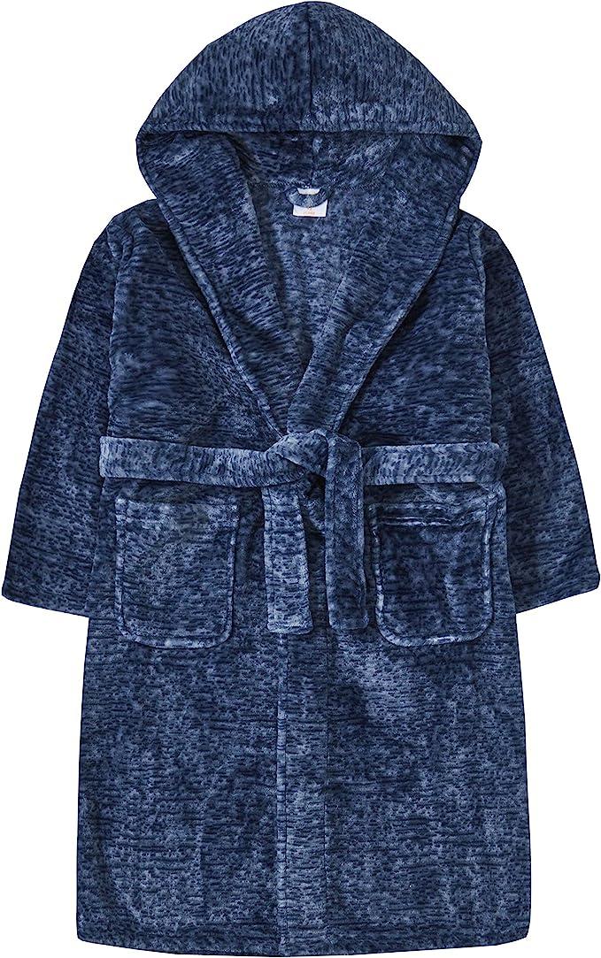 4Kidz Boys Two Tone Snuggle Fleece Hooded Dressing Gown Robe