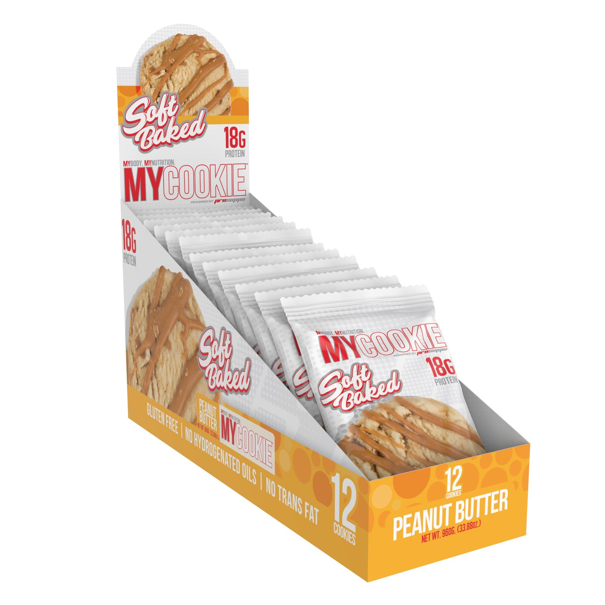 Pro Supps MYCOOKIE Delicious Soft Baked Protein Cookie, Peanut Butter, 18g Protein, 7g Sugar, Gluten-Free, No Trans Fat, Healthy On-The-Go Snack, 12 ct