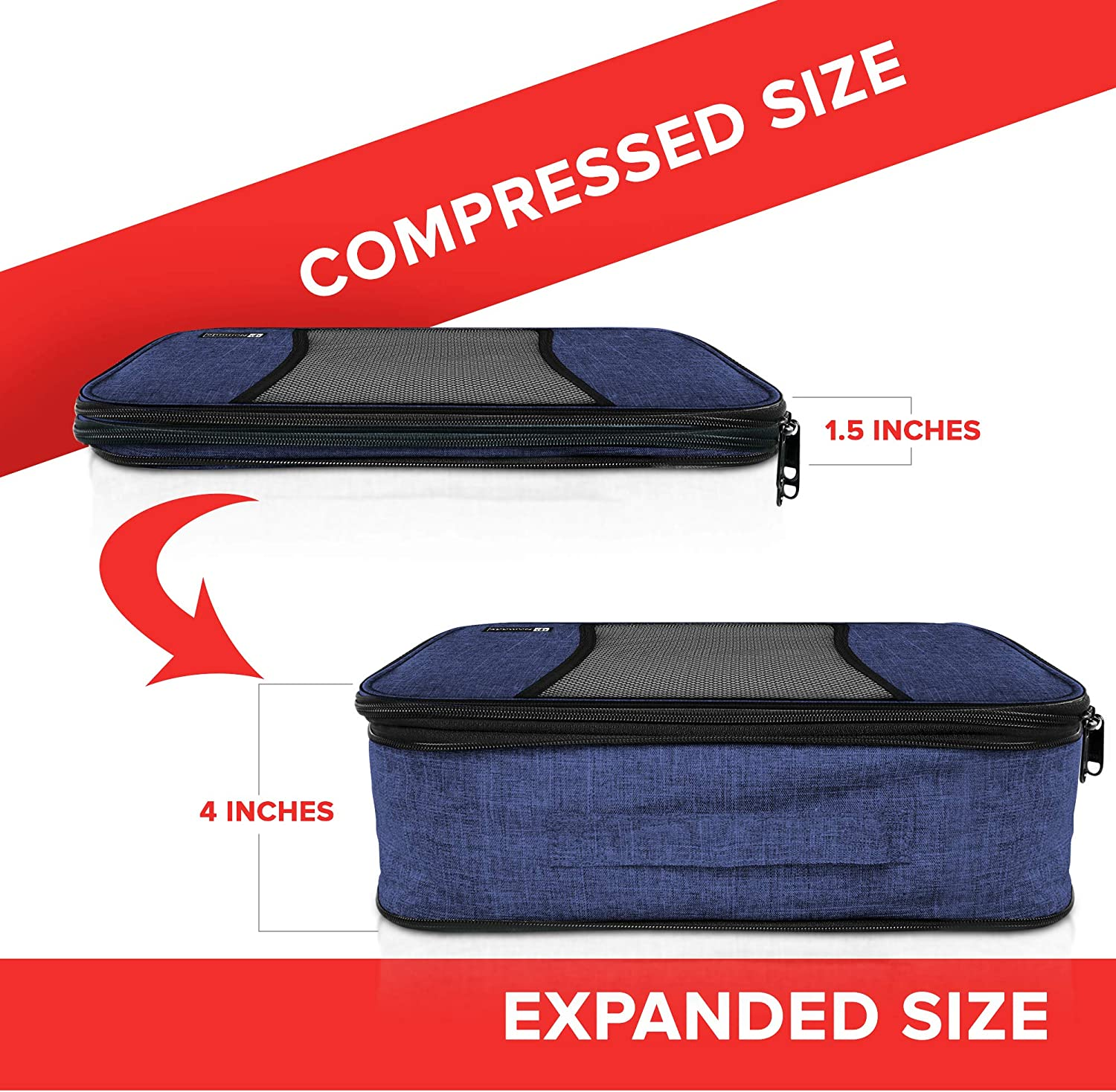 Navy Blue Compression Packing Cubes Travel Luggage-Organizer Set Packs More in Less Space