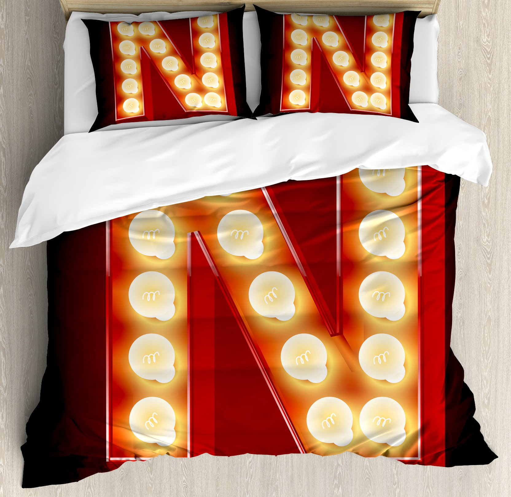 Letter N Queen Size Duvet Cover Set by Ambesonne, Old Fashioned Movie Theater Carnival Casino Entertainment Night Life, Decorative 3 Piece Bedding Set with 2 Pillow Shams, Vermilion Yellow Black