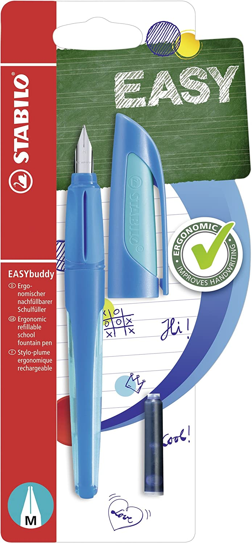 STABILO EASYbuddy - Penna stilografica punta standard M Blu/Azzurro con 2 ricariche inchiostro Blu B-51558-5
