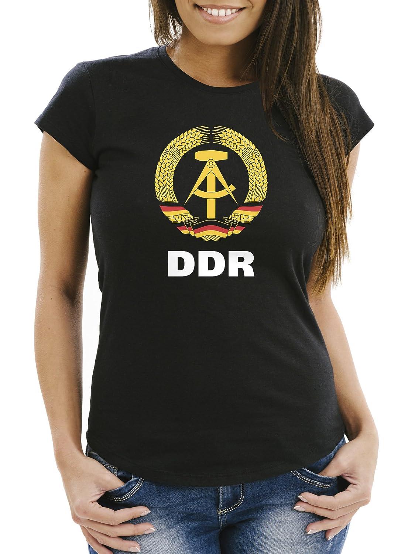 MoonWorks Damen T Shirt WM DDR Nostalgie Slim Fit gut www