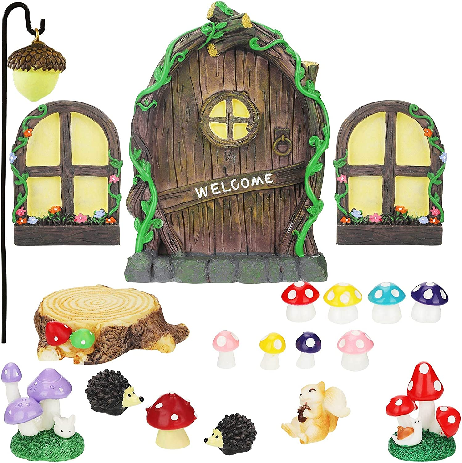 Jetec 21 Pieces Fairy Door and Window, Trees with 2 Window and Light Yard Sculpture Decoration for DIY Micro Landscape Ornament Kid Room, Wall and Tree Outdoor Miniature Fairy Garden Accessories