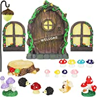 Jetec 21 Pieces Fairy Door and Window, Trees with 2 Window and Light Yard Sculpture Decoration for DIY Micro Landscape…