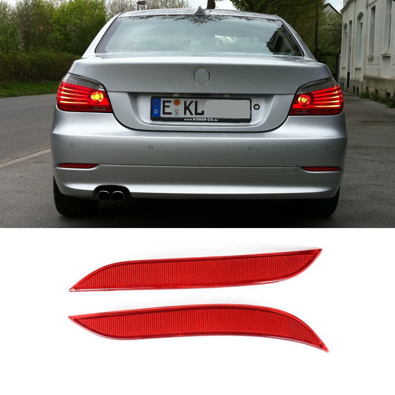 YUK Rear Bumper Reflector Red Lights For BMW E60 E61 03-07 525i 525xi 530i 530xi 545i 550i