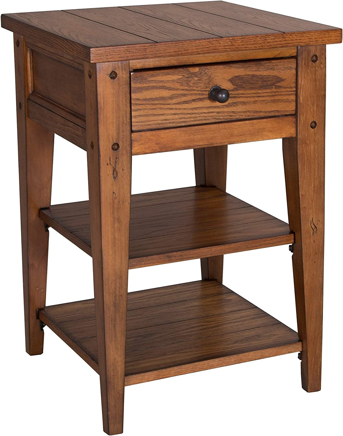 "Liberty Furniture Industries Lake House Chair Side Table, 18"" x 18"" x 26"", Medium Brown"