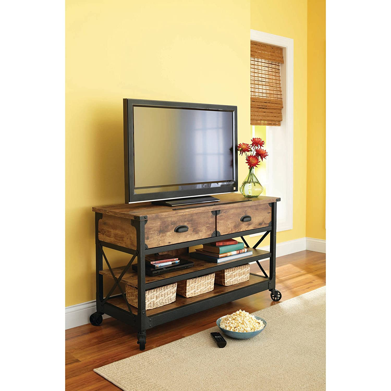 Sturdy Wooden Rustic Country Antiqued Black Pine Panel TV Stand for TVs up to 52 , Elegant Classic Home Entertainment Furniture in Natural Finish and Black Accents 49.134 W x 21.26 D x 28.74 H