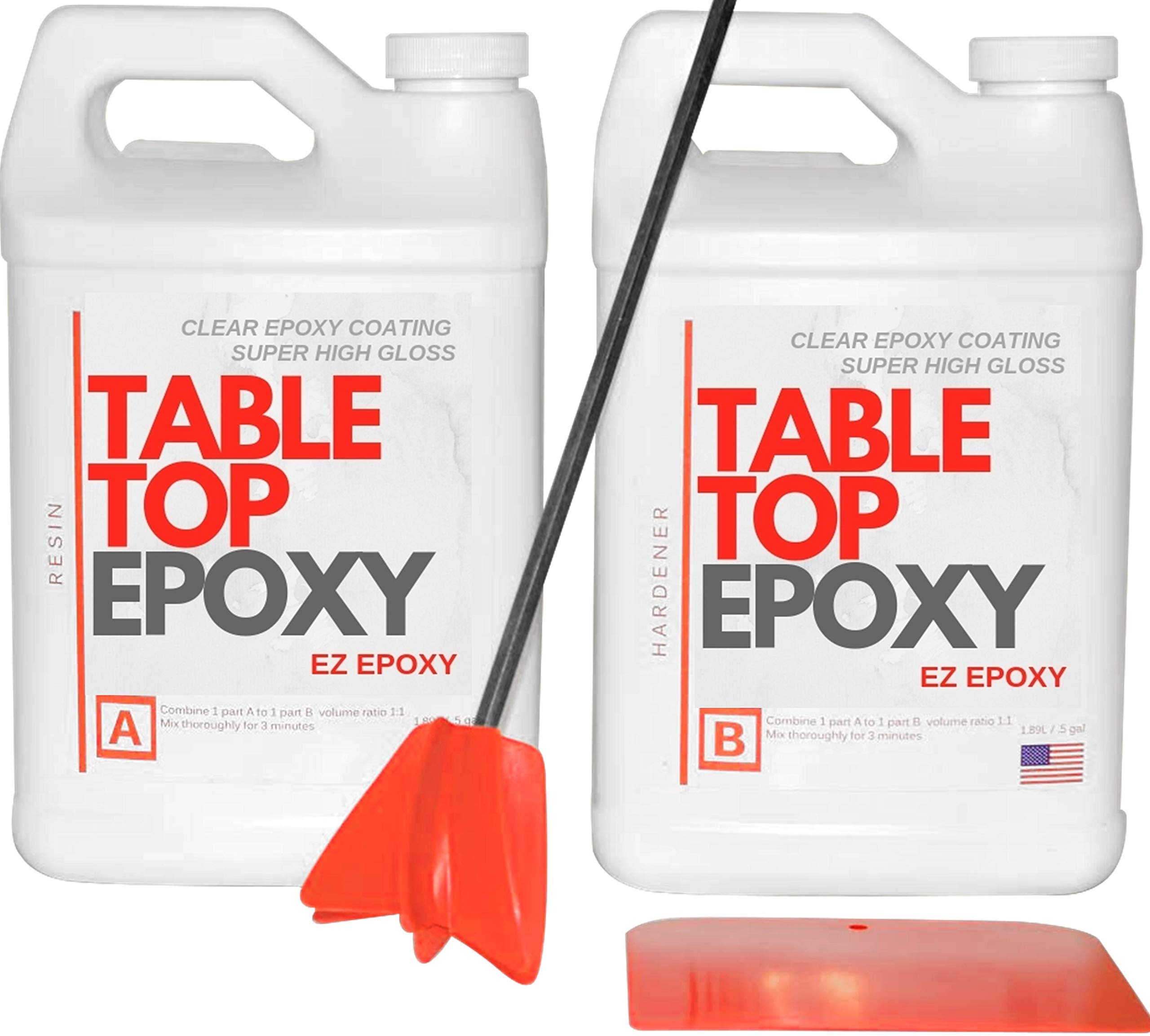 Crystal Clear Epoxy Resin -1 Gallon Epoxy kit -Coating for Tabletops, Bar Tops, Crafting - 2 Part Epoxy Resin - UV Protection & NO VOC - High-Gloss & Low-Odor by EZ Epoxy- Tabletop Epoxies Resin