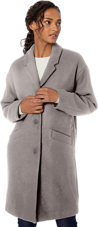 Marchio Amazon - Daily Ritual Wool Cocoon Coat Donna A Spina Di Pesce Grigio.
