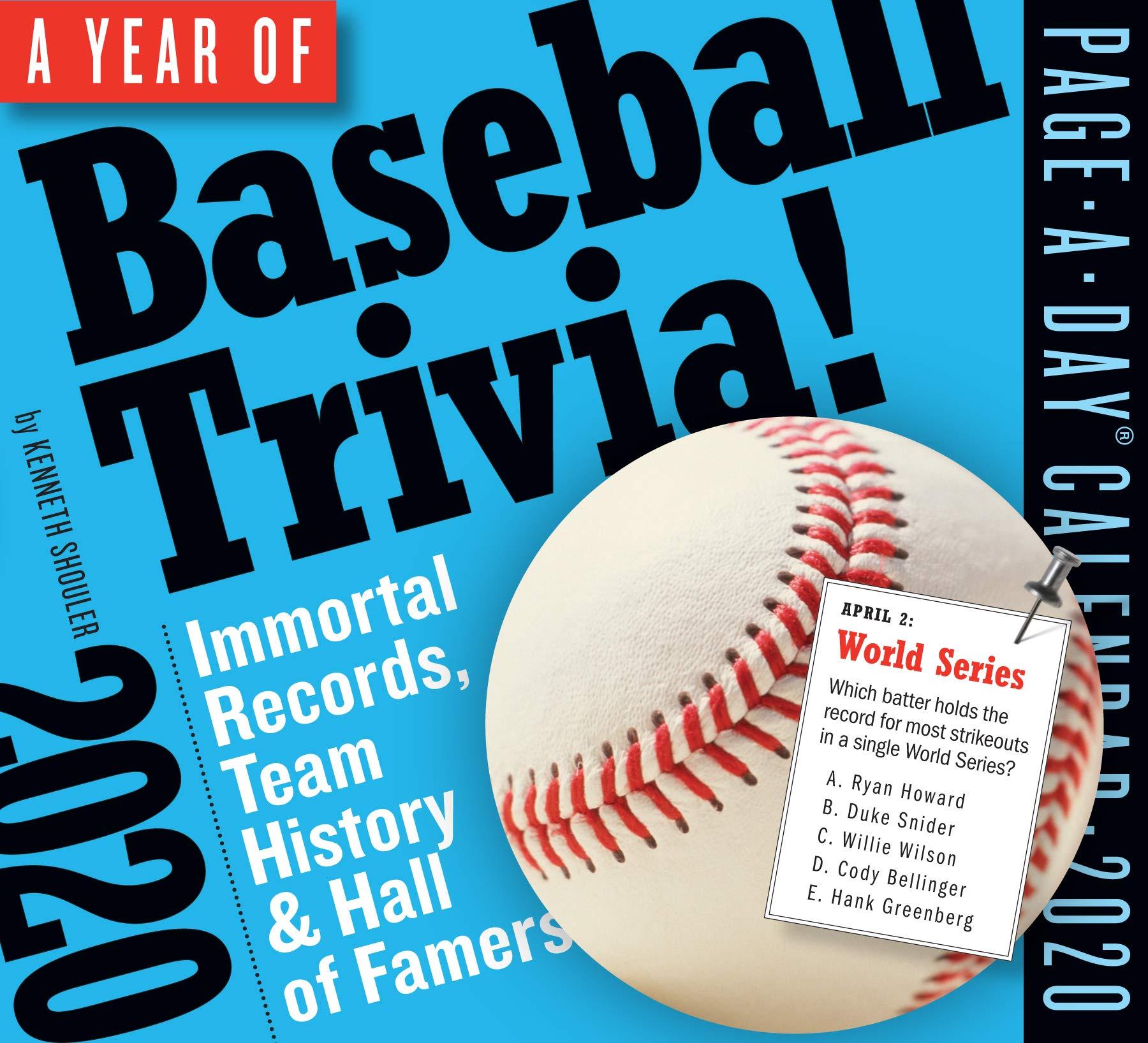 Baseball Calendar 2020 Year of Baseball Trivia! Page A Day Calendar 2020: Kenneth Shouler