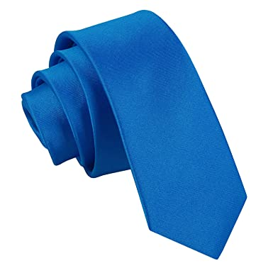 Nueva corbata fina lisa de satén DQT - Azul Electrico: Amazon.es ...