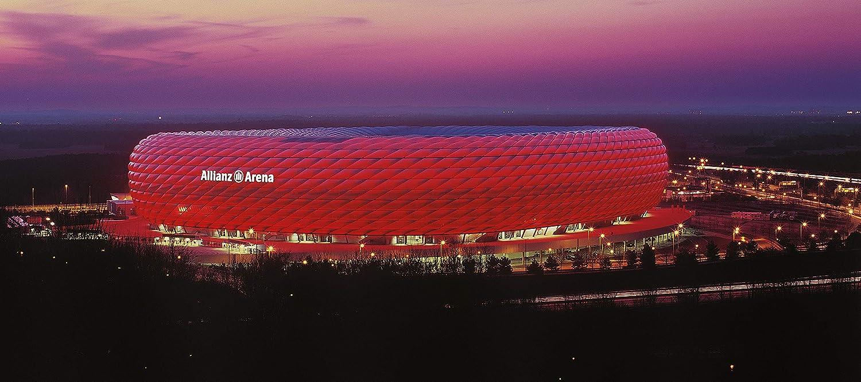 München Stadion Panorama außen ROT – Poster 240 x 100 cm – hochwertiger FineArtPrint