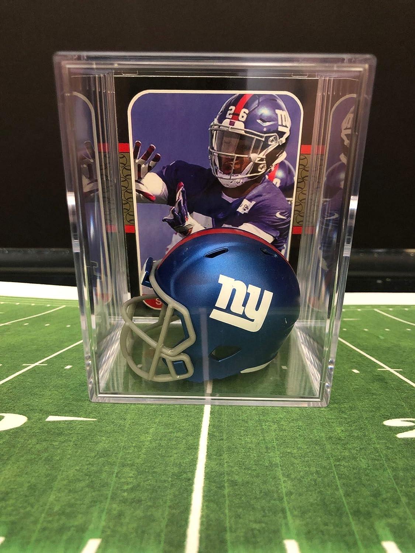 new styles bf8c1 00058 New York Giants NFL Helmet Shadowbox w/Saquon Barkley card