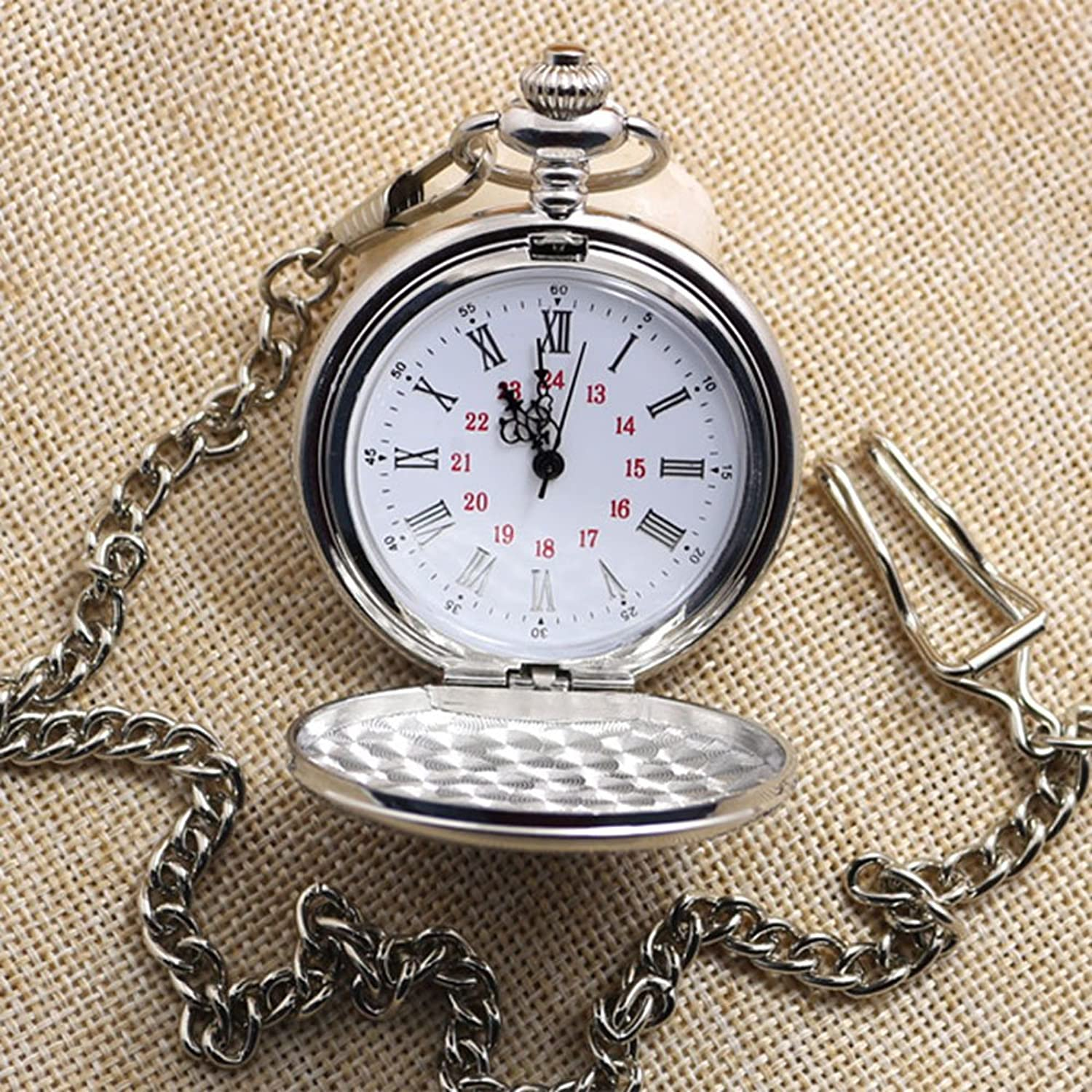 1920s Style Mens Vests WIOR Classic Smooth Vintage Pocket Watch Sliver Steel Men Watch with 14'' Chain for Xmas Fathers Day Gift $10.99 AT vintagedancer.com