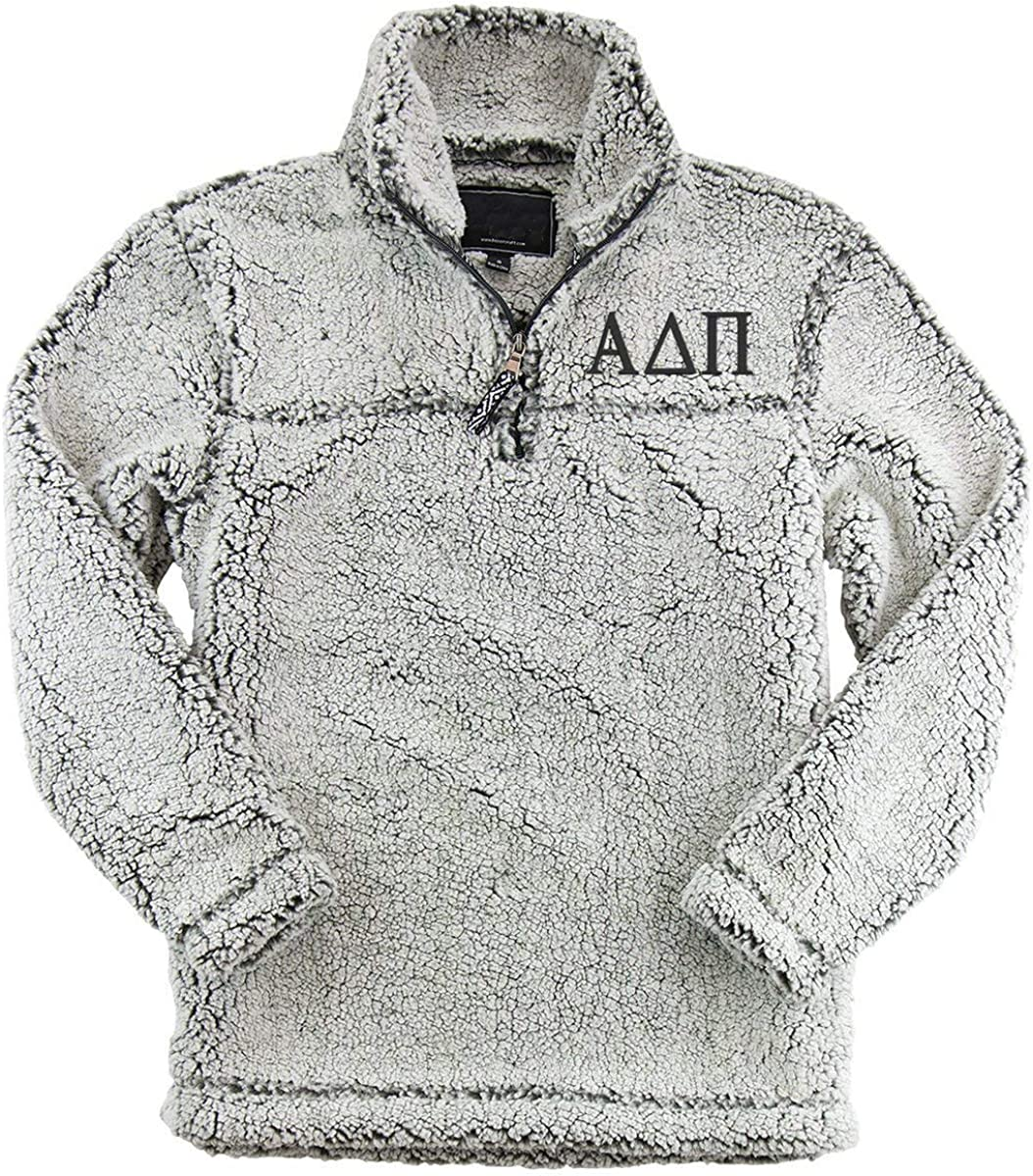 Alpha Delta Pi Sherpa Quarter Zip Pullover - Frosted Grey