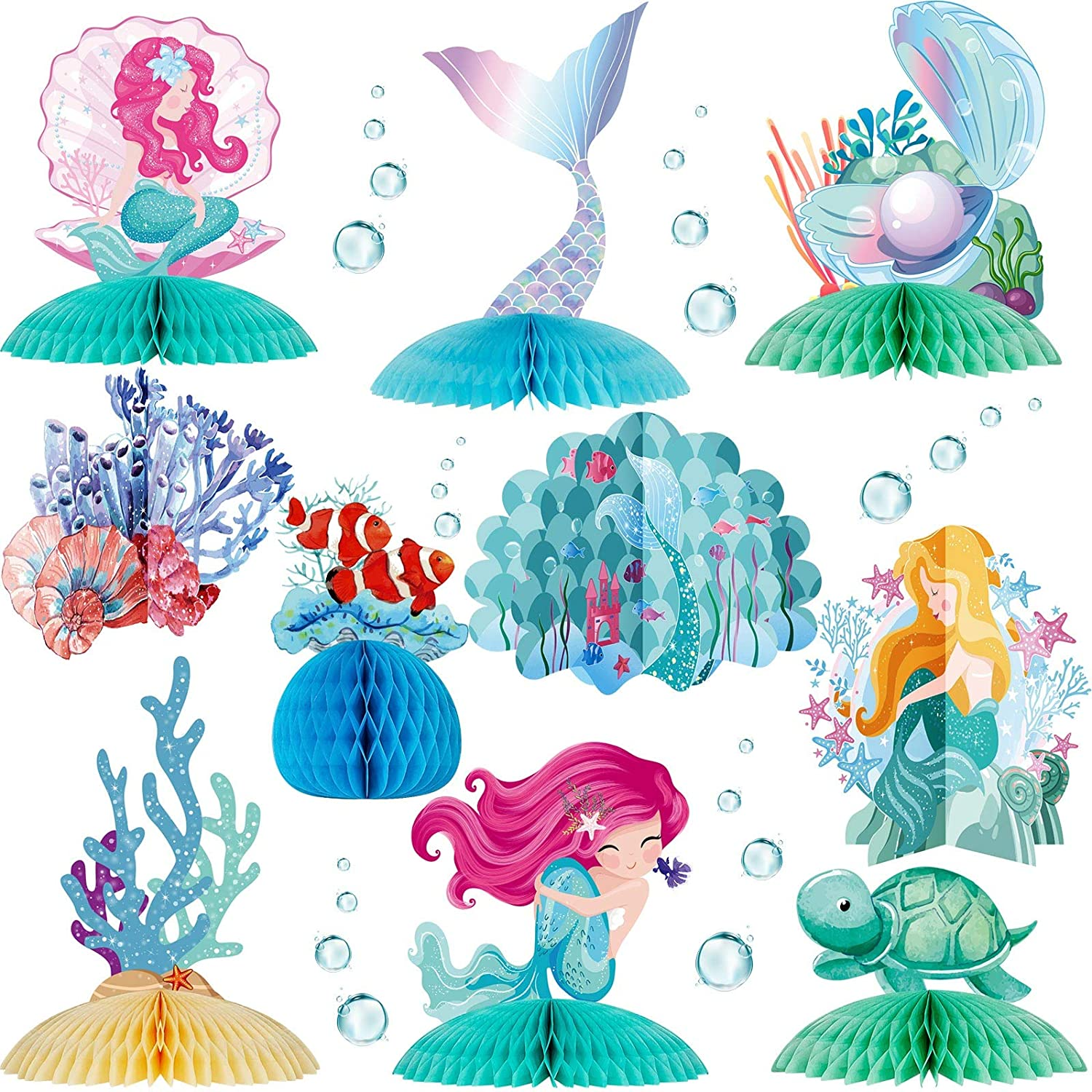 Skylety 10 Pieces Mermaid Centerpiece Mermaid Shaped Honeycomb Under The Sea Centerpiece Ocean Table Topper Mermaid Tableware Decoration for Mermaid Theme Baby Shower Birthday Wedding Party Decor