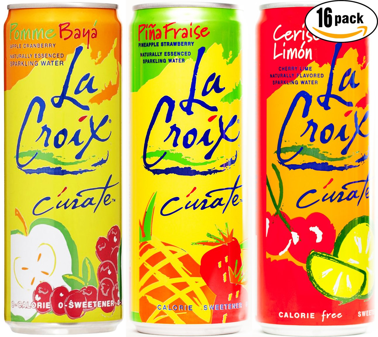 La Croix C'urate Variety Pack! Cherry Lime, Apple Cranberry, Pineapple Strawberry Curate, 12 OZ Cans (3 Flavor Variety Pack, Total of 16 Cans)