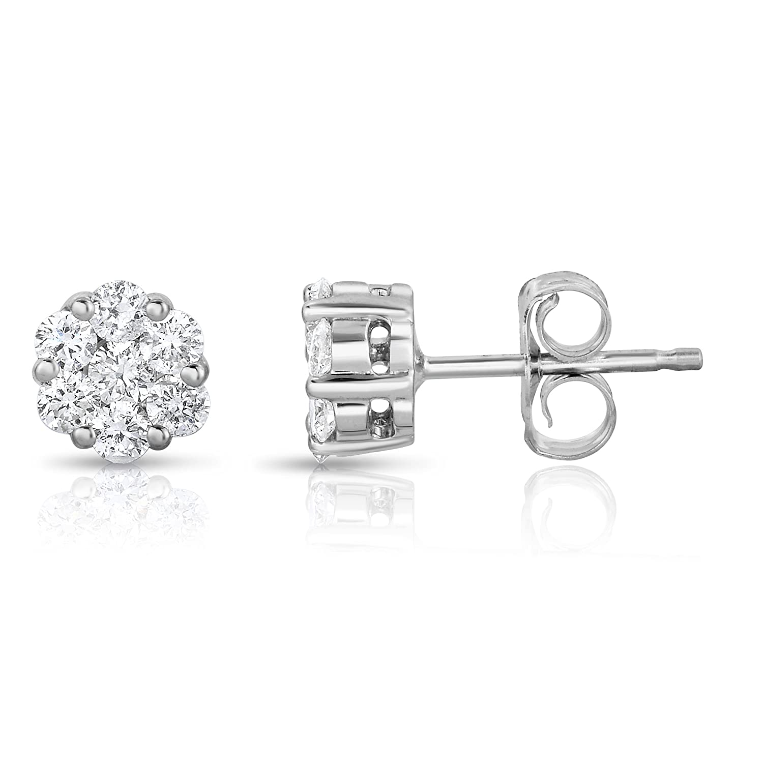 Noray Designs 14K White Gold Diamond (1/4 Ct, G-H Color, SI2-I1 Clarity) Cluster Stud Earrings