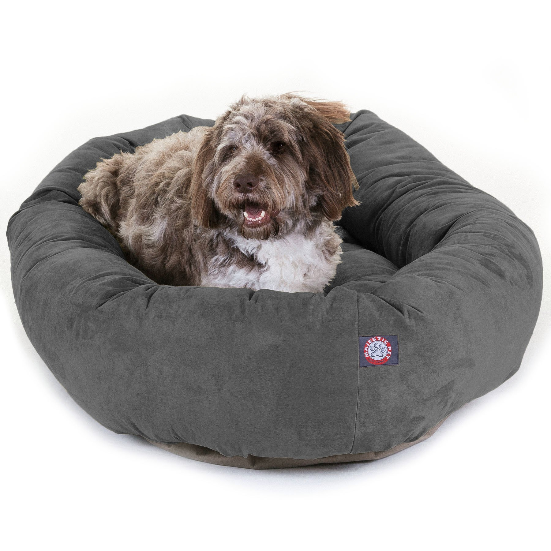 Majestic Pet 52'' Gray Velvet Bagel Dog Bed