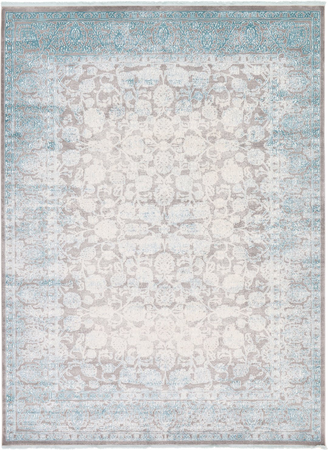 Vintage Castle Collection Rugs Light Gray 9' x 12' FT Area Rug - Modern & Traditional Design - Home Décor