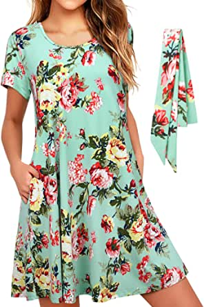 Camiseta Tipo túnica Swing para Mujer/Vestidos de Manga Larga con Bolsillos Vestidos Holgados y cómodos con cinturón Vestido Informal