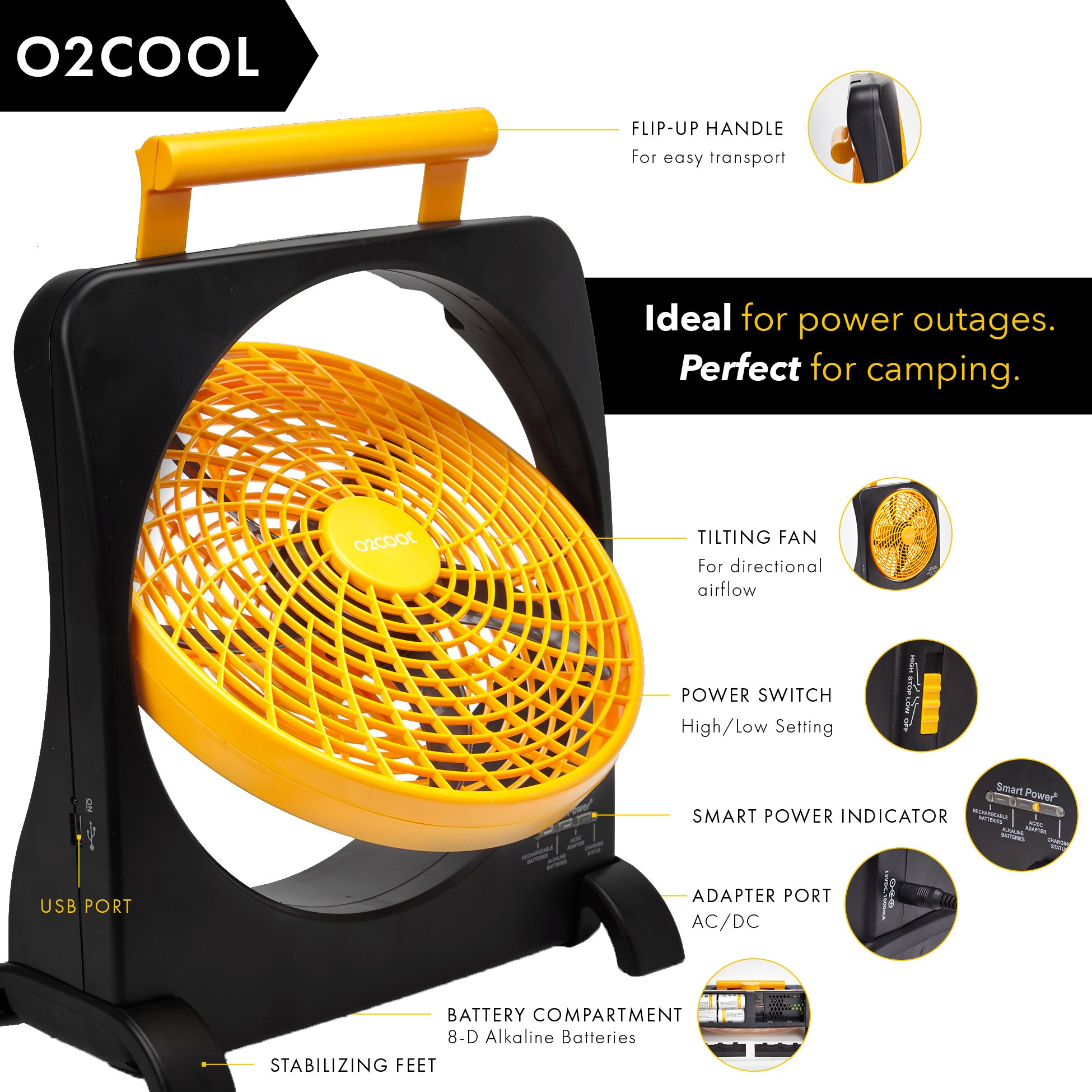 """O2COOL 10"""" Battery Operated Fan - Portable Smart Power Fan with AC Adapter & USB Charging Port for Emergencies, Camping & Travel Use (Orange) by O2COOL (Image #4)"""
