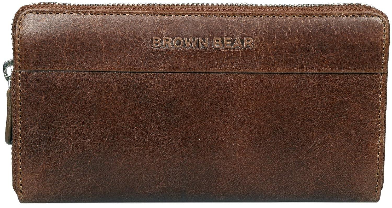 Brown Bear Business Design Geldbörse Damen Leder Braun Tobacco Vintage mit umlaufenden Reißverschluss Frauen Geldbeutel Portemonnaie Portmonee Portmonaise Napoli 62