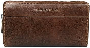 6036daf9e35f4 Brown Bear Business Design Geldbörse Damen Leder Braun Tobacco Vintage mit  umlaufenden Reißverschluss Frauen Geldbeutel Portemonnaie