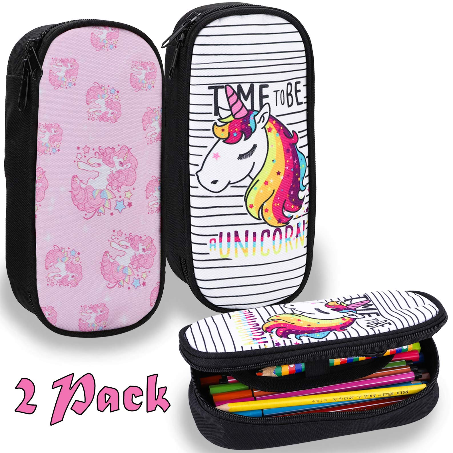 BEYUMI Cute WhiteΠnk Unicorn Pencil Case 2 Pack, up to 50 Pens High Capacity Pencil Pouch Stationery Organizer Multifunction Cosmetic Makeup Bag, Perfect Holder Student Adult Office High School