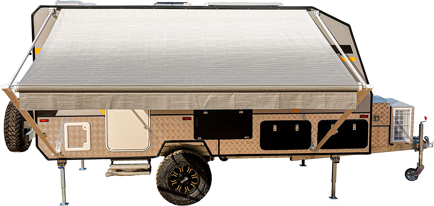ALEKO Manual Retractable RV Trailer Awning for Home or Camper- 10x8 Ft - Gray Fade