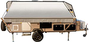 ALEKO Manual Retractable RV Trailer Awning for Home or Camper- 13x8 Ft - Gray Fade