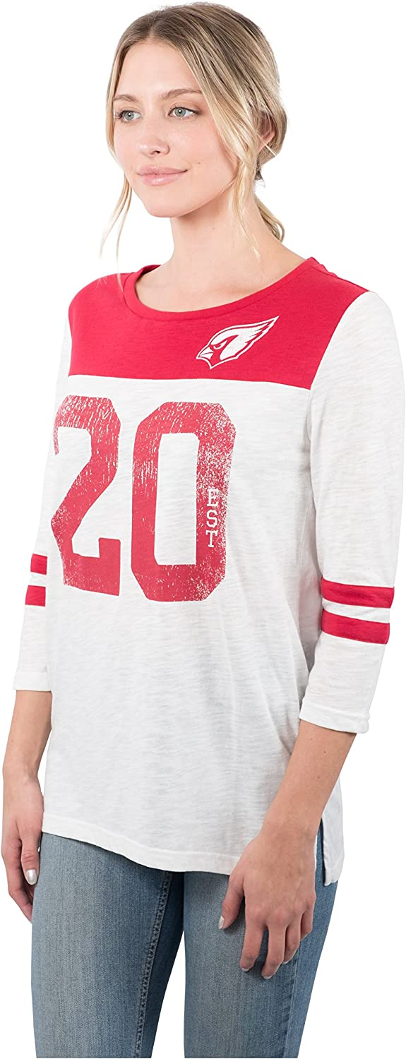 Ultra Game NFL Womens T Vintage 3//4 Long Sleeve Tee Shirt