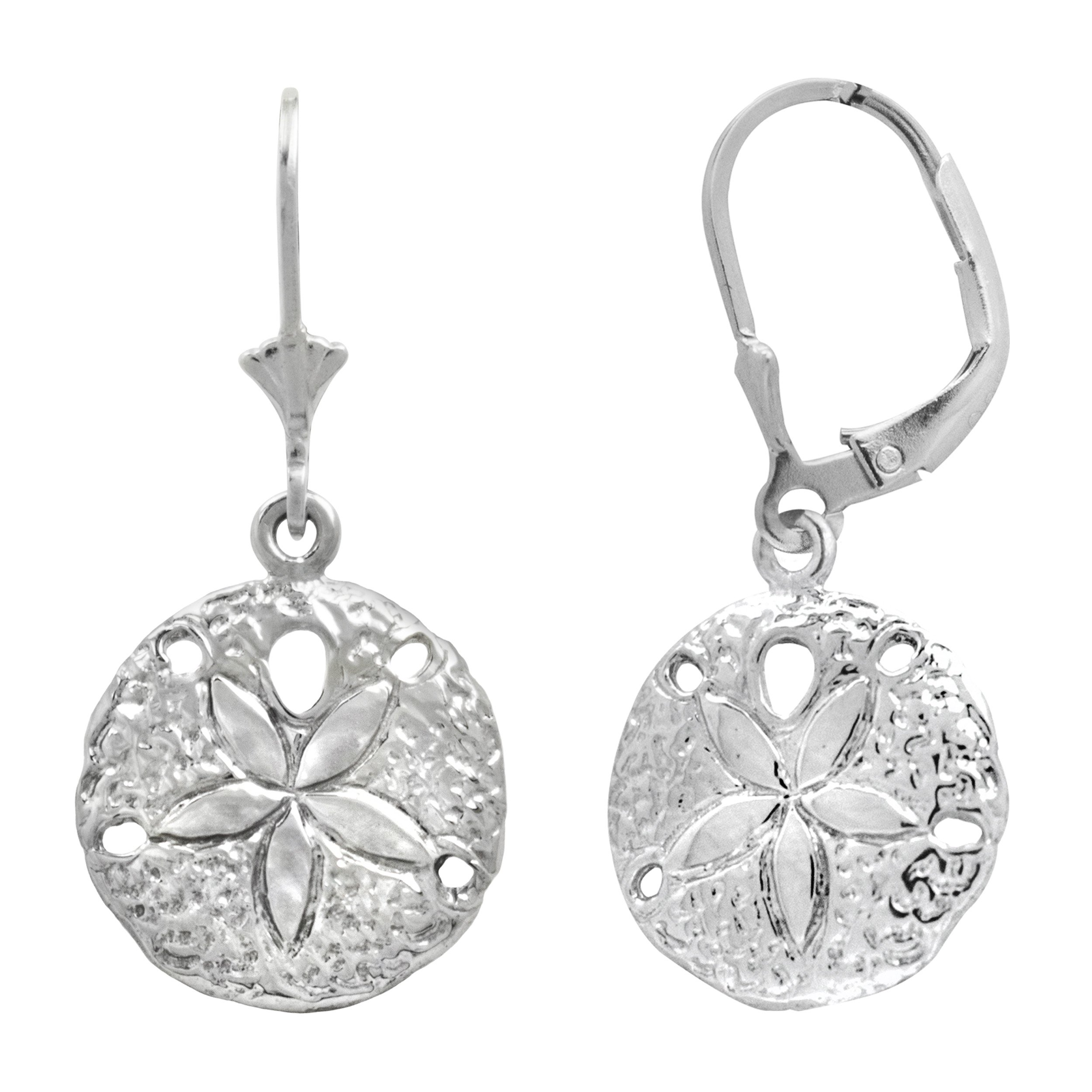 Sterling Silver Sand Dollar Leverback Earrings