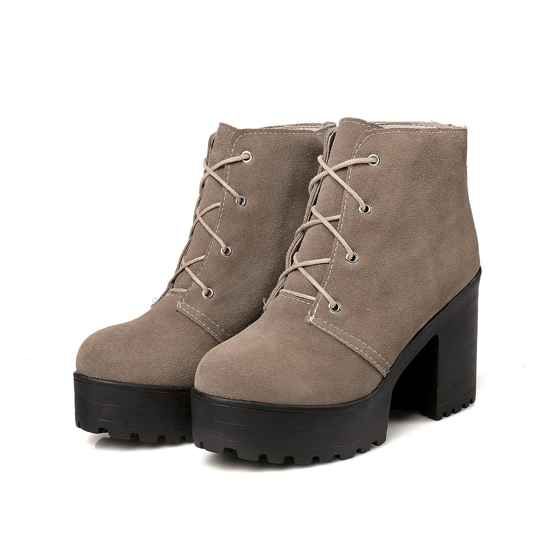 QIN&X Block der Frauen High Heels Runder Ankle Stiefel Plateauschuhe Plateauschuhe Stiefel 3ba77b