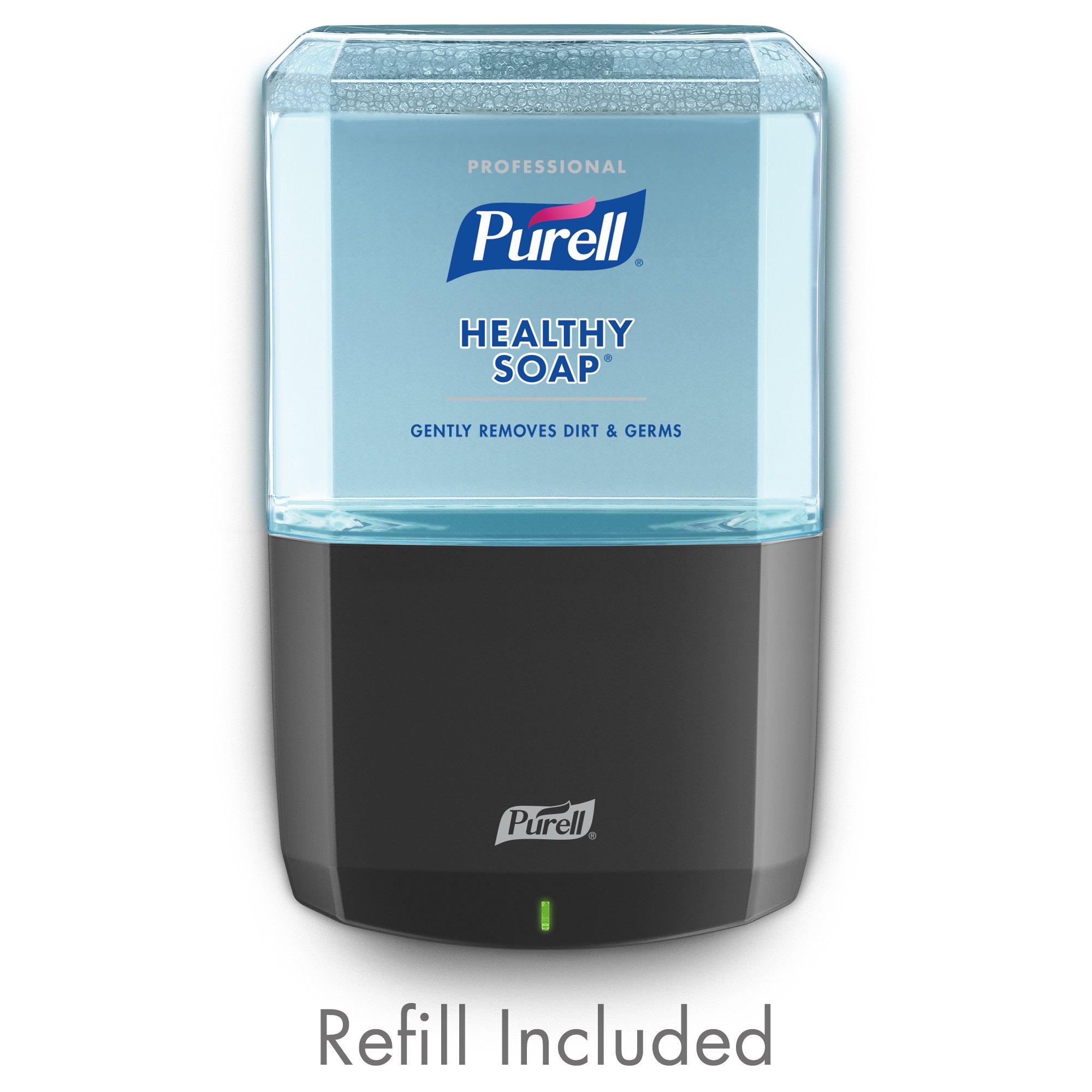 PURELL Professional HEALTHY SOAP Fresh Scent Foam ES6 Starter Kit, 1 - 1200 mL Soap Refill + 1 - ES6 Graphite Push Style Dispenser - 6477-1G
