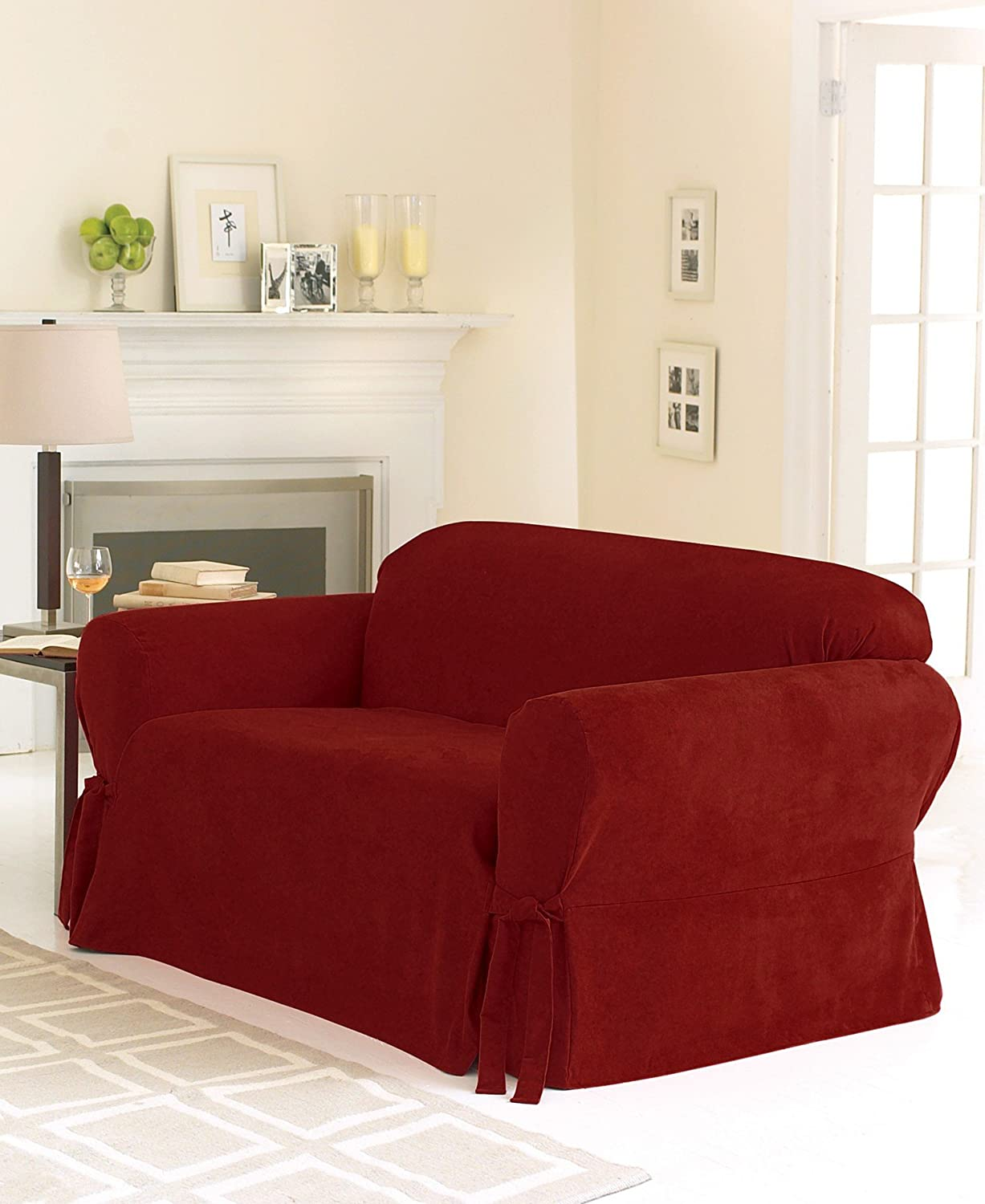 Amazon: Sure Fit Soft Suede 1-Piece - Sofa Slipcover - Burgundy  (SF26186): Home & Kitchen