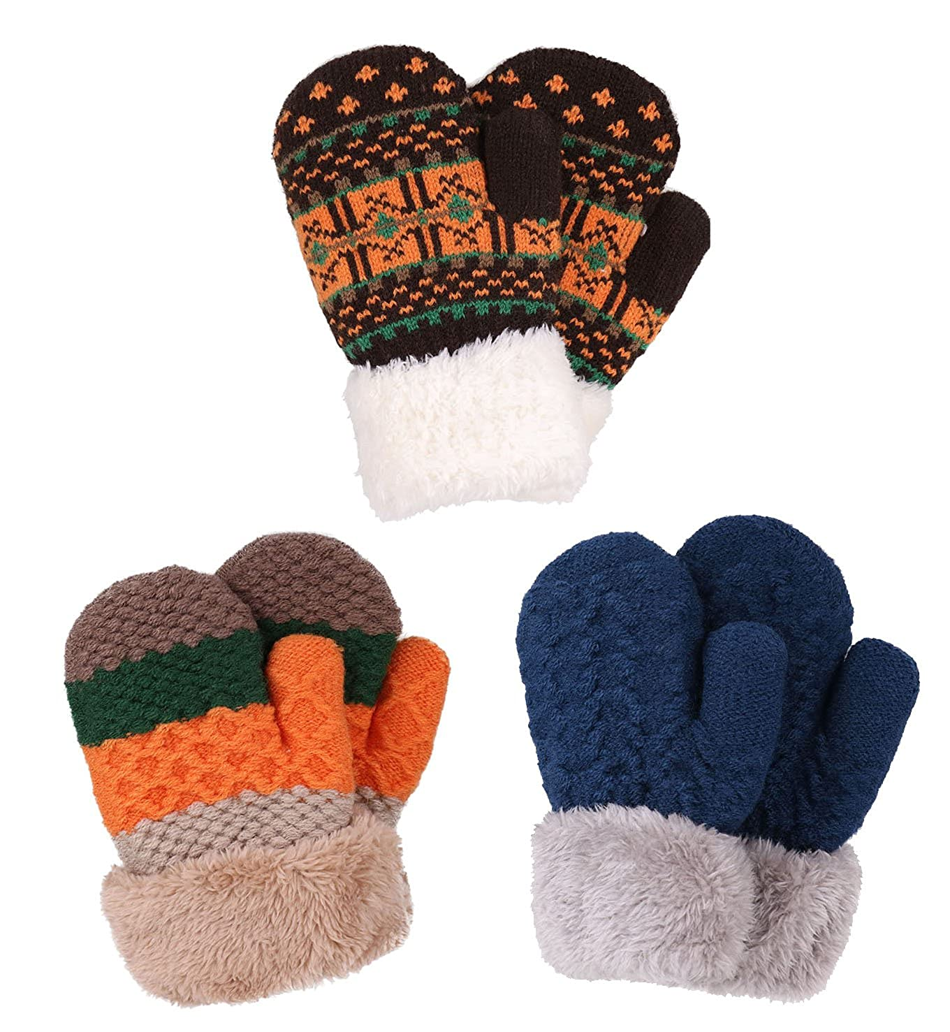 Amazon.com: 3 Pack Toddler Sherpa Lined Winter Knit Mitten Gloves ...
