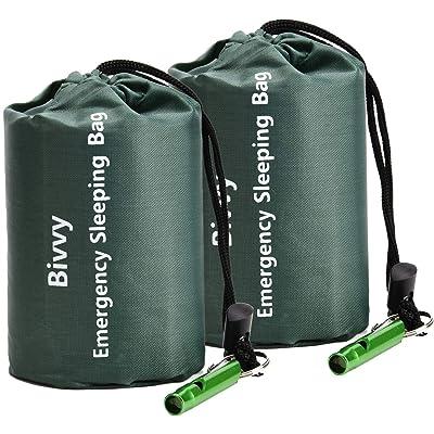 Saco de dormir de emergencia TOBWLOF, saco de dormir ligero con 1 silbato, manta de supervivencia Mylar de emergencia, manta de rescate de supervivencia, resistente al viento, saco de dormir térmico al aire libre para senderismo, camping, viajes